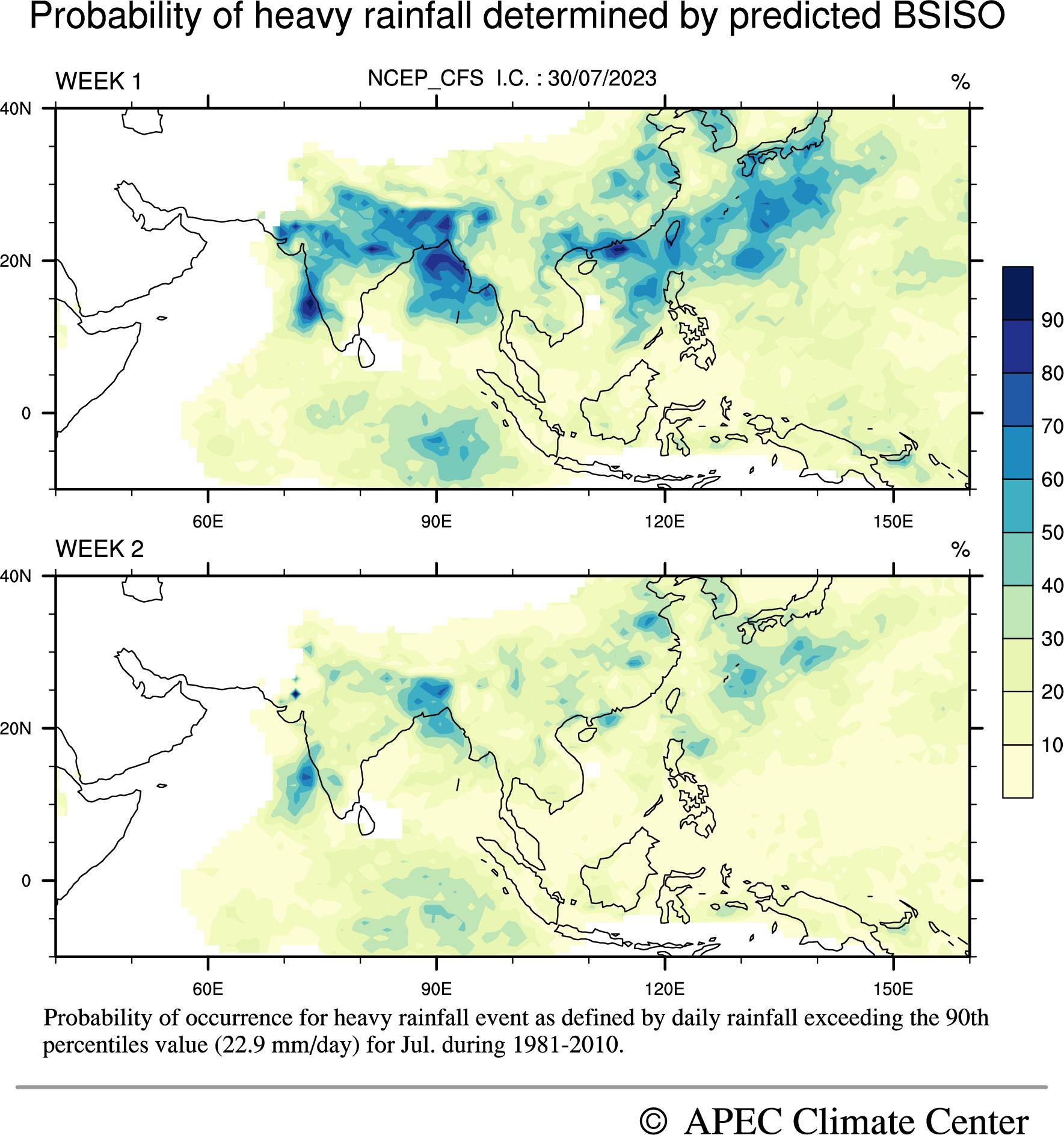 MISO heavy rainfall probability Forecast, CFSv2